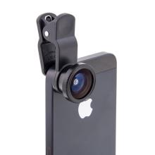 Multifunkční objektiv 3v1 s klipem pro Apple iPhone a jiná zařízení - 180° rybí oko / 0,67x širokoúhlý objektiv / makro objektiv