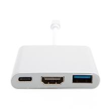 Redukce / adaptér USB-C na USB-C + USB 3.0 OTG + HDMI - stříbrná