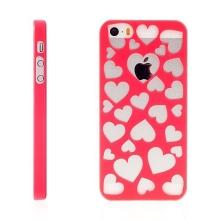 Kryt pro Apple iPhone 5 / 5S / SE plastový srdce růžový