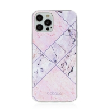 Kryt BABACO pro Apple iPhone 12 Pro Max - gumový - růžový mramor