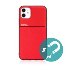 Kryt pro Apple iPhone 11 - vestavěný plíšek pro držáky - plastový / gumový - červený