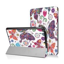 Pouzdro / kryt pro Apple iPad 9,7 (2017-2018) - funkce chytrého uspání + stojánek - květiny a motýli