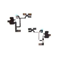 Flex kabel s audio jackem konektorem, přepínačem mute a ovládáním volume pro Apple iPhone 4 - černý - kvalita A+