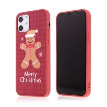 Kryt pro Apple iPhone 12 / 12 Pro - vánoční - gumový - červený / perníkový panáček
