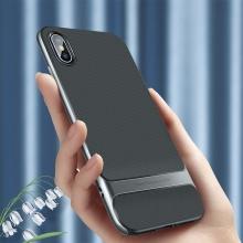 Kryt ROCK Royce pro Apple iPhone Xs Max - gumový / plastový - černý / šedý