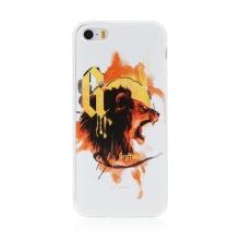 Kryt Harry Potter pro Apple iPhone 5 / 5S / SE - gumový - lev Nebelvíru - bílý