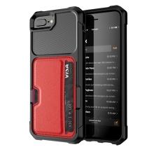 Kryt pro Apple iPhone 6 Plus / 6S Plus / 7 Plus / 8 Plus - umělá kůže / gumový - pouzdro na kartu - červený