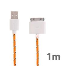 Synchronizační a nabíjecí kabel s 30pin konektorem pro Apple iPhone / iPad / iPod - tkanička - oranžový - 1m