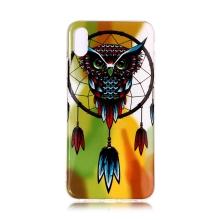 Kryt pro Apple iPhone Xr - gumový - sova a lapač snů - svítící ve tmě