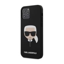 Kryt KARL LAGERFELD Head pro Apple iPhone 12 Pro Max - hlava Karla - silikonový - černý