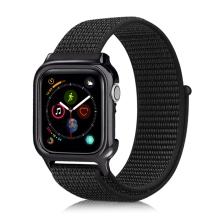 Řemínek pro Apple Watch 44mm Series 4 + pouzdro - nylonový - černý