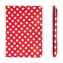 Pouzdro pro Apple iPad Air 2 s 360° otočným stojánkem - červené s bílými puntíky