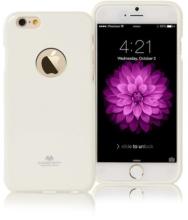 Kryt Mercury pro Apple iPhone 6 Plus / 6S Plus gumový s výřezem pro logo - jemně třpytivý - bílý