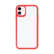 Kryt USAMS Janz pro Apple iPhone 11 - plastový / gumový - průhledný / červený