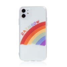 Kryt pro Apple iPhone 11 - gumový - průhledný / duha