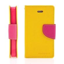 Pouzdro Mercury Fancy Diary pro Apple iPhone 4 / 4S, stojánek a prostor pro platební karty - žluté