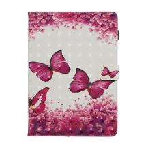 """Pouzdro / kryt pro Apple iPad 10,2"""" - umělá kůže / gumové - růžové / motýli a květy"""