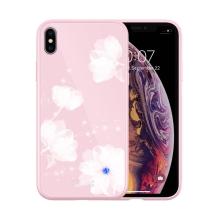 Kryt NILLKIN pro Apple iPhone Xs Max - gumový / skleněný - květiny - růžový