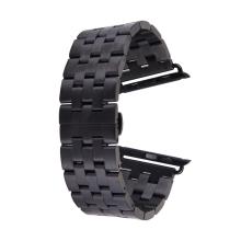 Řemínek pro Apple Watch 44mm Series 4 / 5 / 42mm 1 2 3 - ocelový - černý