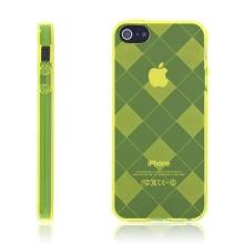 Ochranný gumový kryt pro Apple iPhone 5 / 5S / SE - žlutý se vzorem kosočtverců