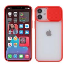 Kryt pro Apple iPhone 12 / 12 Pro - matná záda - krytka fotoaparátu - plastový / gumový - červený