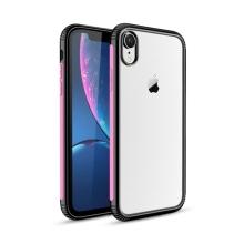 Kryt pro Apple iPhone Xr - plastový / gumový - průhledný / černý - růžový proužek