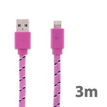 Synchronizační a nabíjecí kabel Lightning pro Apple iPhone / iPad / iPod - tkanička - plochý světle růžový - 3m