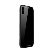 Kryt SULADA pro Apple iPhone Xs Max - kov / sklo - černý