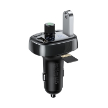 FM transmitter / vysílač BASEUS S-09 + autonabíječka 2x USB + Bluetooth 4.2 handsfree - kovově šedý