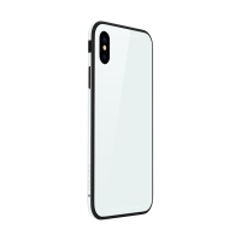 Kryt SULADA pro Apple iPhone Xs Max - kov / sklo - bílý
