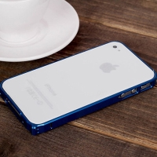 Ochranný ultra tenký hliníkový rámeček / bumper LOVE MEI (tl. 0,7 mm) pro Apple iPhone 4 / 4S - modrý
