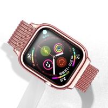 Řemínek USAMS pro Apple Watch 44mm Series 4 / 42mm 1 / 2 / 3 + pouzdro - milánský tah - Rose Gold růžový