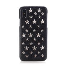 Kryt pro Apple iPhone X - umělá kůže - stříbrné 3D hvězdy / černý