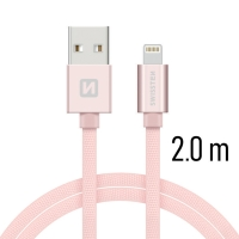 Synchronizační a nabíjecí kabel SWISSTEN - MFi Lightning pro Apple zařízení - tkanička - Rose Gold - 2m