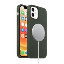 Kryt pro Apple iPhone 12 mini - Magsafe - silikonový - tmavě zelený