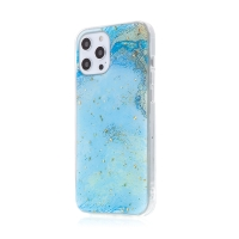 Kryt FORCELL pro Apple iPhone 12 / 12 Pro - mramorová textura a zlaté úlomky - gumový - modrý