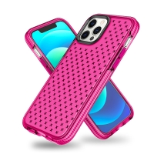 Kryt pro Apple iPhone 12 / 12 Pro - křížkový motiv - gumový - růžový