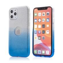 Kryt FORCELL Shining pro Apple iPhone 11 Pro Max - výřez pro logo - plastový / gumový - stříbrný / modrý