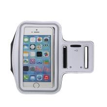 Sportovní pouzdro pro Apple iPhone 6 / 6S / 7 / 8 / SE (2020) - bílé s reflexním pruhem
