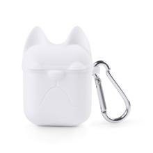Pouzdro / obal pro Apple AirPods - silikonové - kočička - bílé