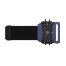 Sportovní držák / pouzdro pro Apple iPhone - látkové / silikonové - pásek na ruku - černé / modré
