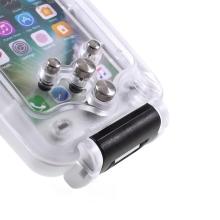 Pouzdro vodotěsné pro Apple iPhone 7 / 8 s odolností do 40m hloubky (IPX8) - průhledné / bílé
