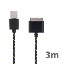 Synchronizační a nabíjecí kabel s 30pin konektorem pro Apple iPhone / iPad / iPod - tkanička - černý - 3m