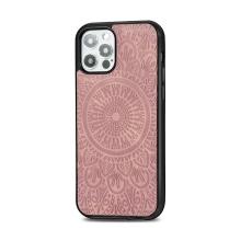 Kryt pro Apple iPhone 12 / 12 Pro - mandala - MagSafe kompatibilní - umělá kůže - Rose Gold růžový