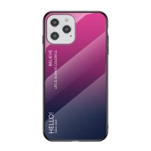 Kryt pro Apple iPhone 12 / 12 Pro - skleněný / gumový - černý / růžový