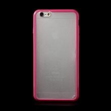 Kryt pro Apple iPhone 6 Plus / 6S Plus plasto-gumový - matný průhledný s růžovým rámečkem