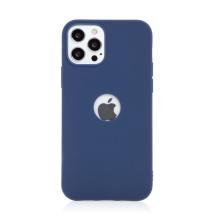 Kryt FORCELL Soft pro Apple iPhone 12 / 12 Pro - gumový - s výřezem pro logo - tmavě modrý