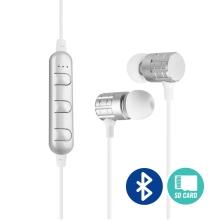 Sluchátka Bluetooth bezdrátová - špunty - ovládání + mikrofon - slot na Micro SD kartu - bílá