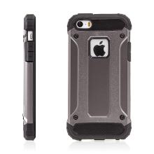 Kryt pro Apple iPhone 5 / 5S / SE - plasto-gumový / antiprachové záslepky - bronzový / hnědý