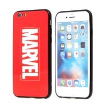 Kryt MARVEL pro Apple iPhone 6 / 6S - sklo / guma - červený